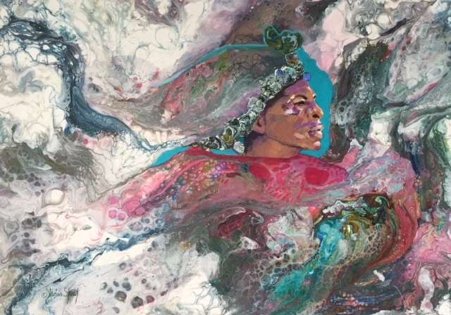 The Headband, Mixed Media on Canvas, 60 x 42cm